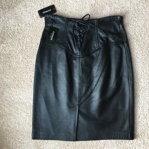 Corset Back Leather Skirt